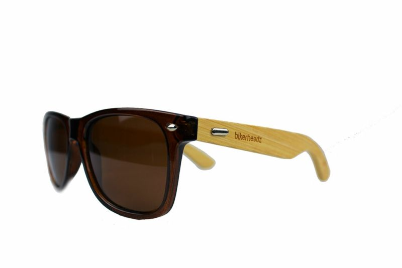 Image of BIKERHEADZ UNISEX SUNGLASSES POLARISED ECO WOOD/BROWN